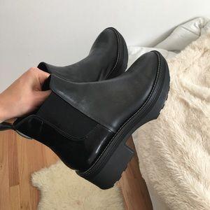 Zara black chunky block platform bootie boot